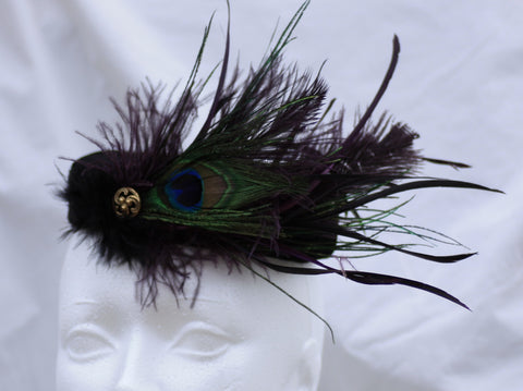Black Velvet Pillbox Hat with Peacock Feathers