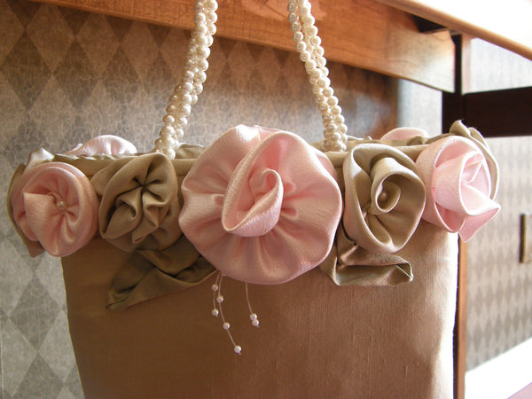 Beige Purse with Pink Roses