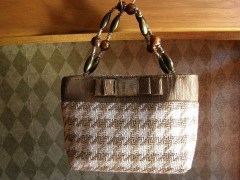 Beige and Gold Houndstooth Purse