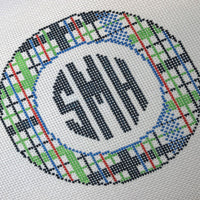 Plaid and Monogram Canvas - Needlepoint by Laura, LLC