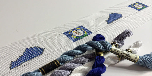 Kentucky Flag needlepoint belt canvas - Needlepoint by Laura, LLC