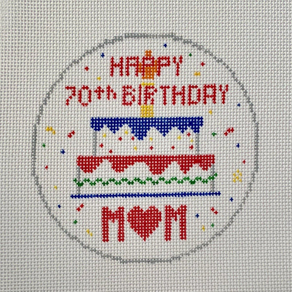 Birthday cake needlepoint ornament canvas - Needlepoint by Laura, LLC