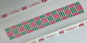 Webbing in pink and green Needlepoint Key Fob Canvas - Needlepoint by Laura, LLC