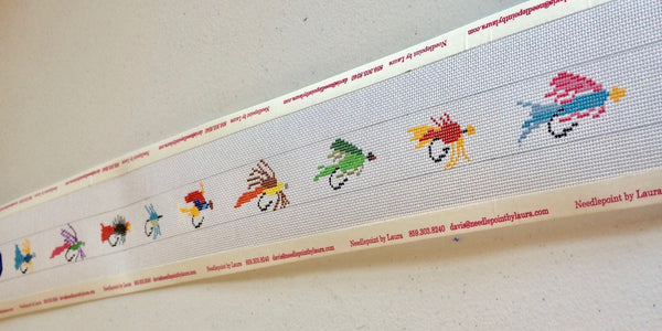 Fly fish Lures Needlepoint Belt Canvas - Needlepoint by Laura, LLC