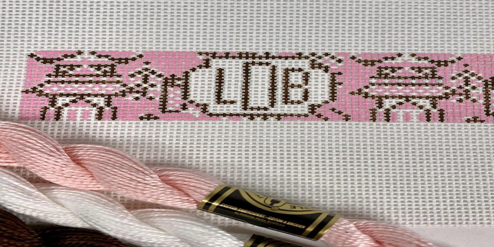 Chinoiserie needlepoint key fob canvas with monogram in pink and brown