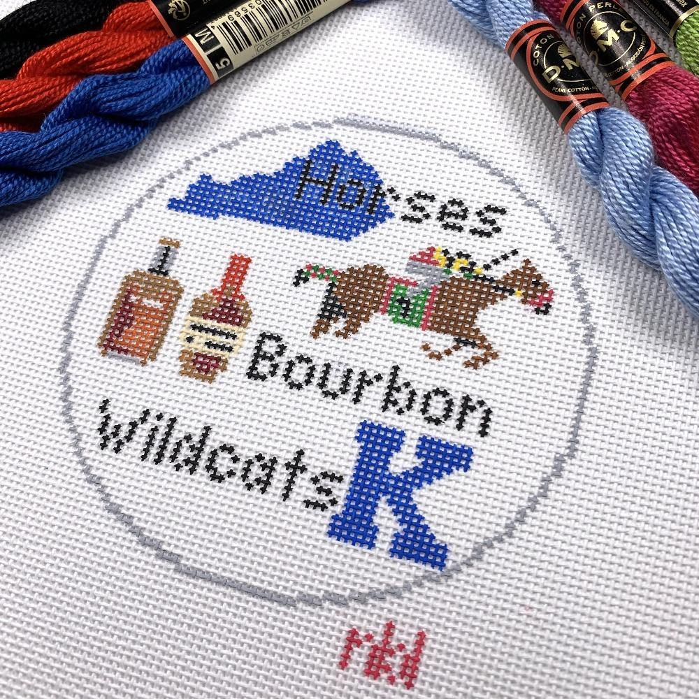 Horses Bourbon and Wildcats Canvas - Needlepoint by Laura, LLC