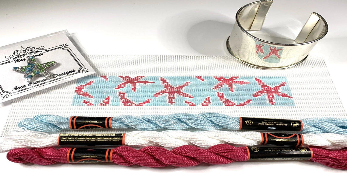 Starfish Needlepoint Bracelet Cuff Kit - Needlepoint by Laura, LLC