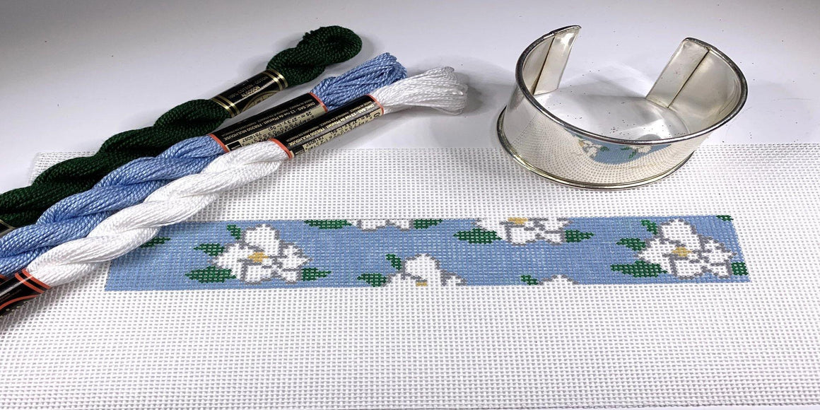 Magnolias Needlepoint Bracelet Cuff Kit - Needlepoint by Laura, LLC