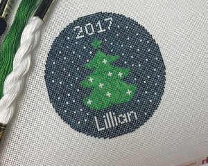 Christmas tree on Navy Canvas - Needlepoint by Laura, LLC