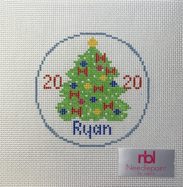 Christmas Tree Ornament personalized - Needlepoint by Laura, LLC