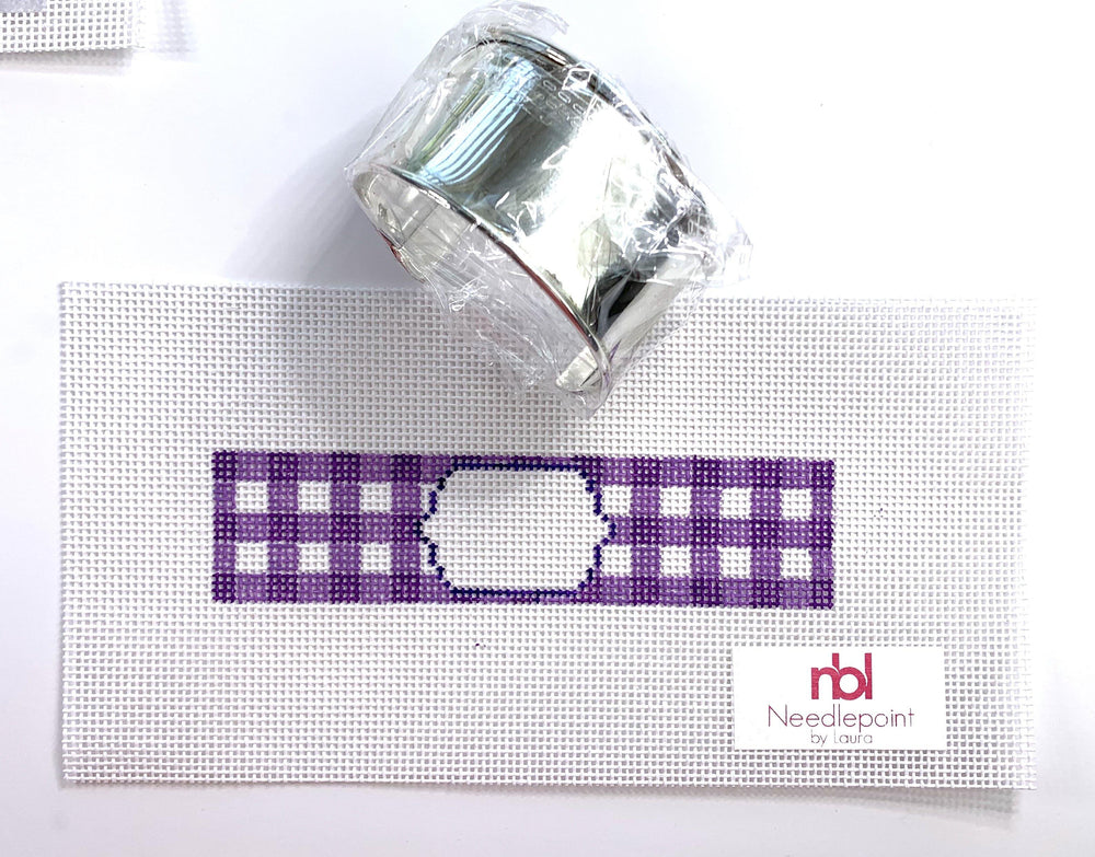 Gingham Needlepoint Bracelet Cuff Kit with monogram size 14 canvas