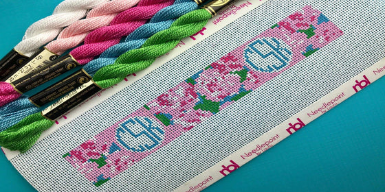 Pink Roses and Circle monogram needlepoint key fob canvas - Needlepoint by Laura, LLC