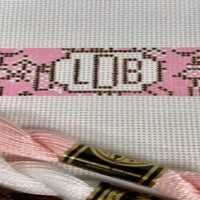 Chinoiserie needlepoint key fob canvas with monogram in pink and brown - Needlepoint by Laura, LLC
