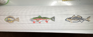 Deep sea fishing needlepoint belt canvas - Needlepoint by Laura, LLC
