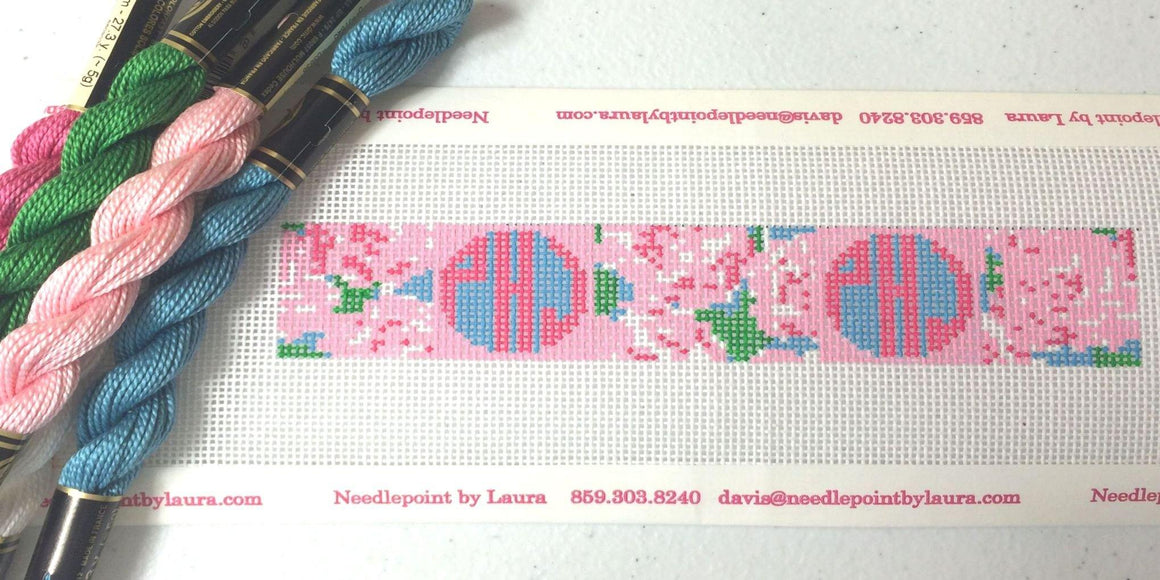 Pastel Floral Pattern with Circle Monogram - Needlepoint by Laura, LLC