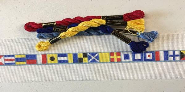 Nautical dog collar needlepoint canvas - Needlepoint by Laura, LLC