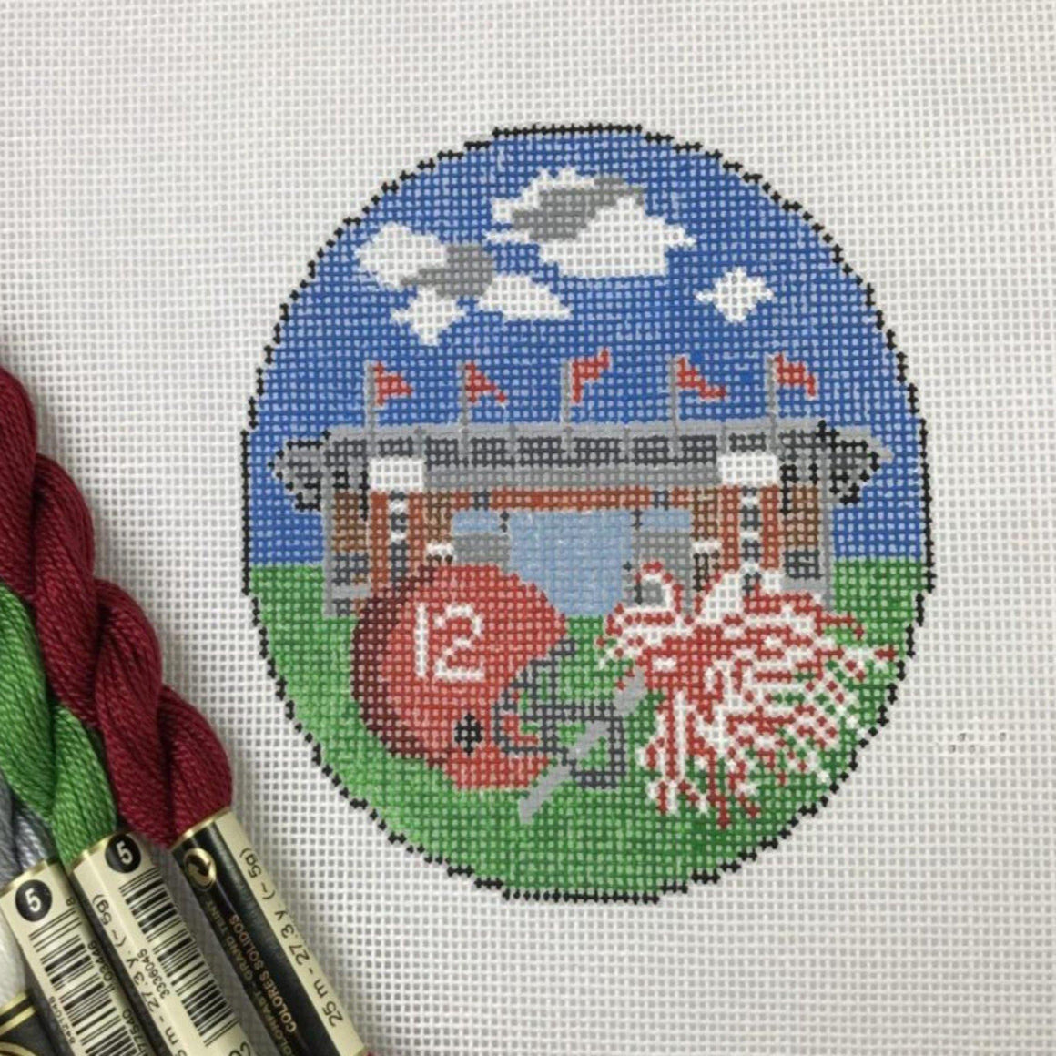 Alabama Football Needlepoint Ornament- four inch round, includes thread - Needlepoint by Laura, LLC