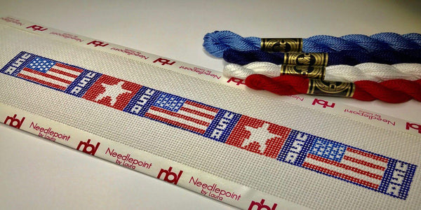 US Flag dog collar needlepoint canvas on blue background - Needlepoint by Laura, LLC