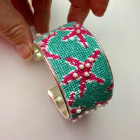 Chinoiserie Needlepoint Bracelet Cuff Kit - Needlepoint by Laura, LLC