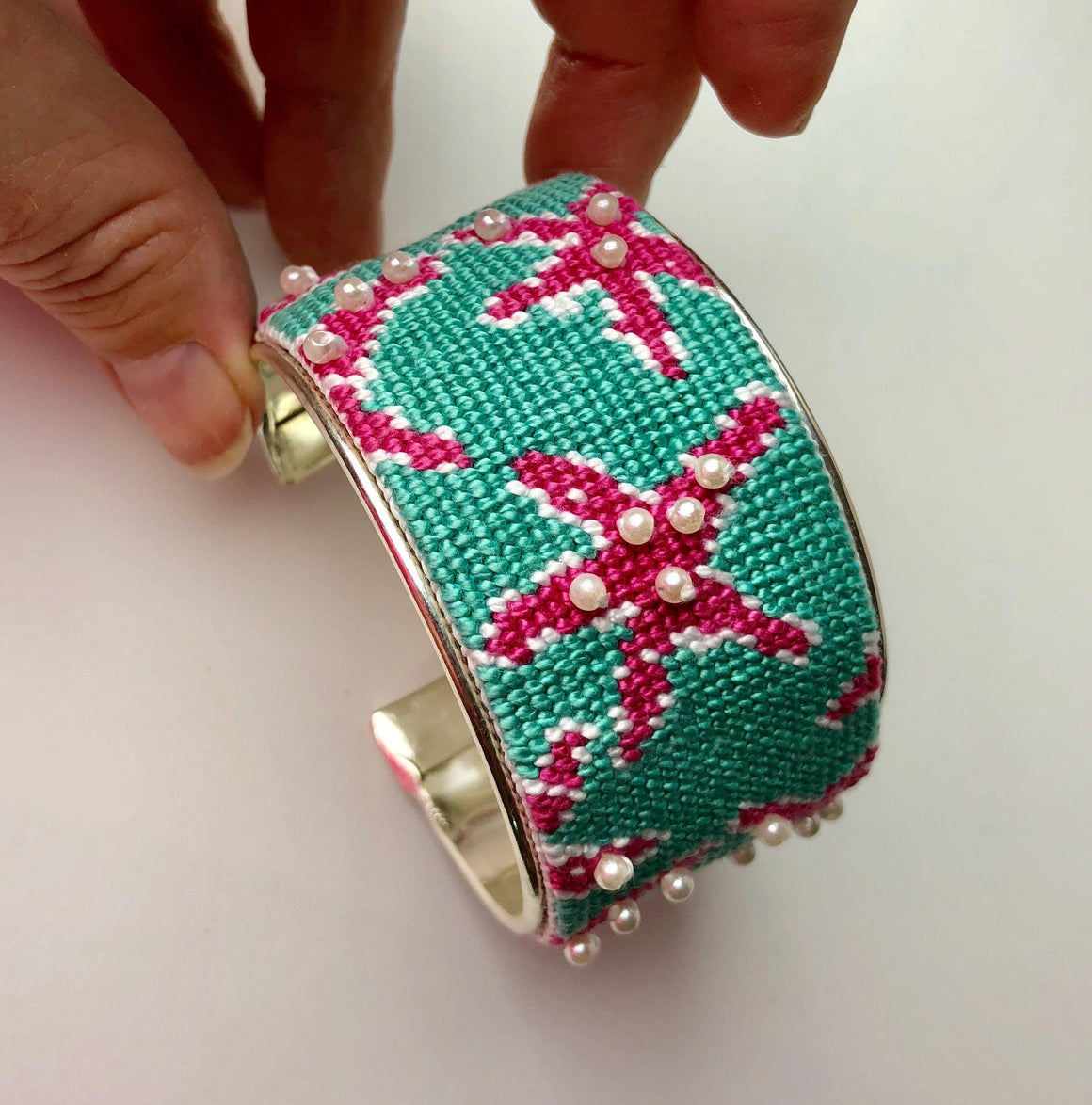 Roses Needlepoint Bracelet Cuff Kit - Needlepoint by Laura, LLC