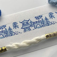 Chinoiserie needlepoint key fob canvas - Needlepoint by Laura, LLC