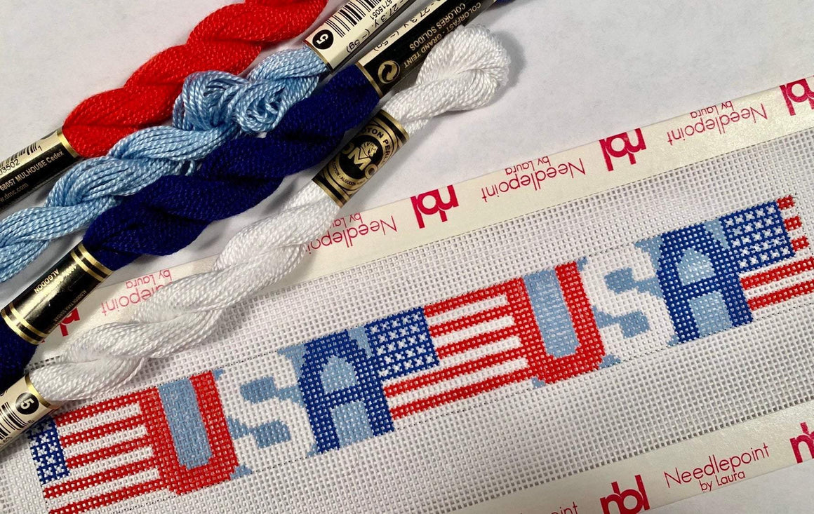 USA and Flag Keyfob Needlepoint Canvas - Needlepoint by Laura, LLC