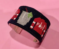 Gingham Needlepoint Bracelet Cuff Kit with Monogram - Needlepoint by Laura, LLC