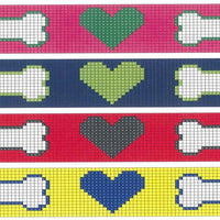 Hearts and bones needlepoint dog collar canvas - Needlepoint by Laura, LLC