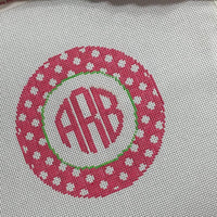 Polka Dots and Monogram Canvas - Needlepoint by Laura, LLC