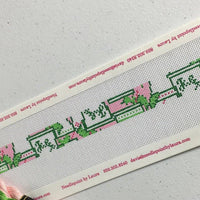 Mint Julep Needlepoint Dog Collar Canvas in pink and green - Needlepoint by Laura, LLC