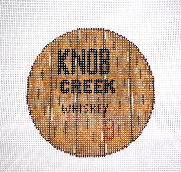 Bourbon Barrel Head Canvas-Knob Creek - Needlepoint by Laura, LLC