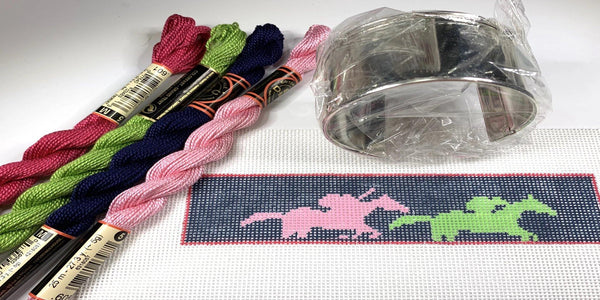 Horse Racing Needlepoint Cuff Bracelet Kit - Needlepoint by Laura, LLC