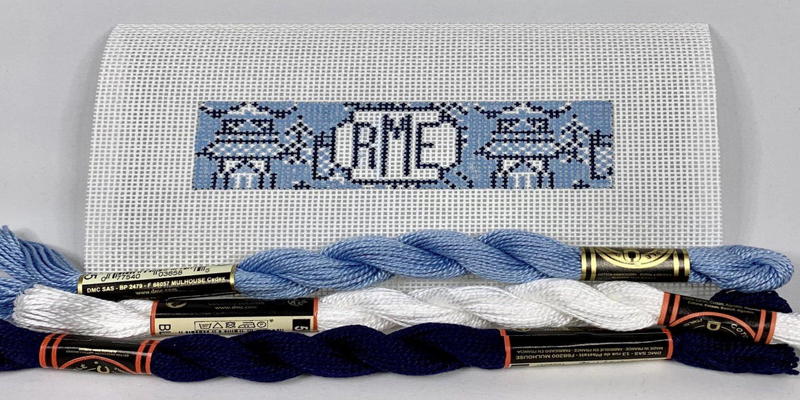 Chinoiserie needlepoint key fob canvas with monogram blue and navy - Needlepoint by Laura, LLC