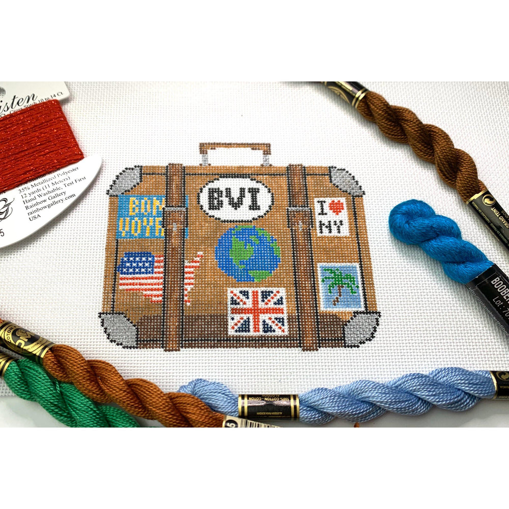 Travel suitcase needlepoint canvas - Needlepoint by Laura, LLC