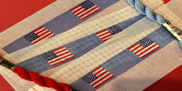 US Flag Needlepoint Key Fob Canvas - Needlepoint by Laura, LLC