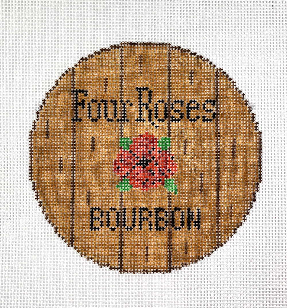 Bourbon Barrel Head Canvas- Four Roses - Needlepoint by Laura, LLC