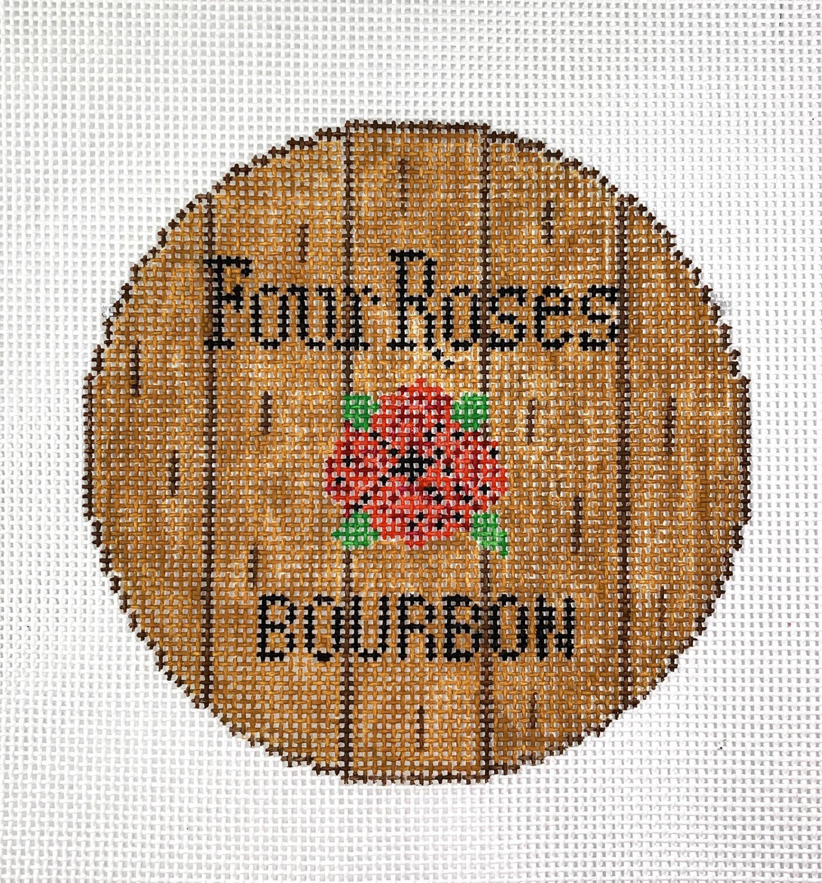 Barrel Head Needlepoint Canvas-Four Roses - Needlepoint by Laura, LLC
