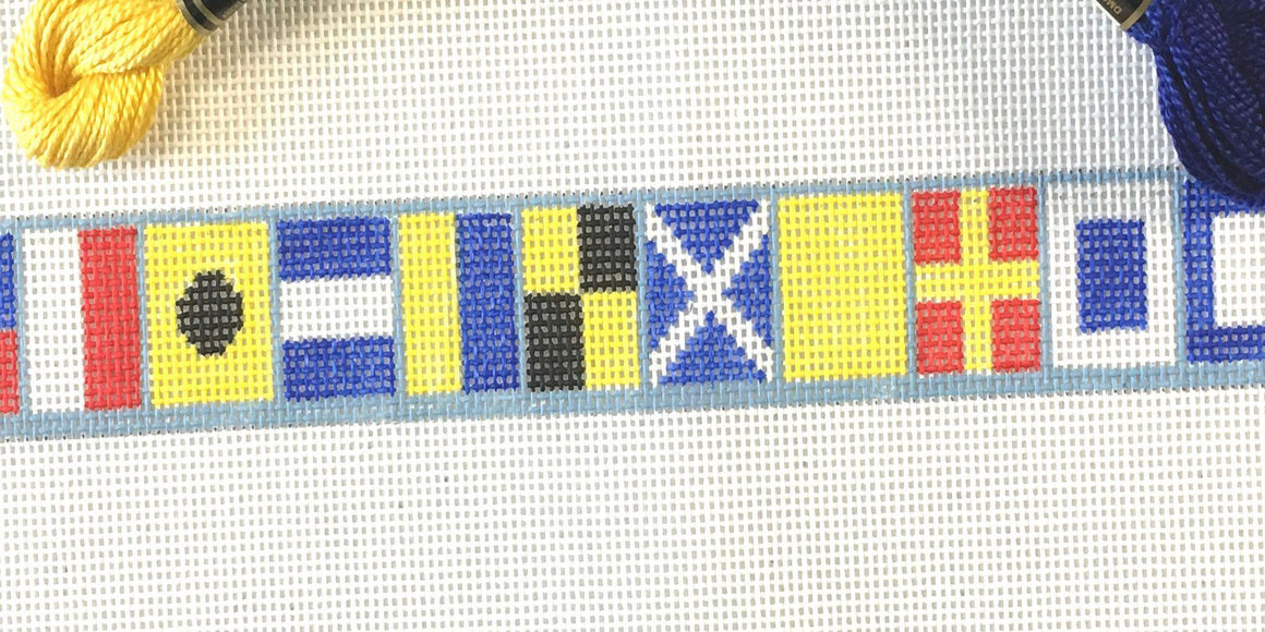 Nautical flags needlepoint belt canvas - Needlepoint by Laura, LLC