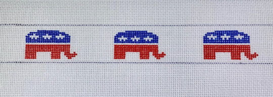 Republican elephant needlepoint belt canvas - Needlepoint by Laura, LLC