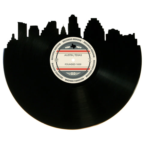 Austin Skyline Records Redone Label Vinyl Record Art