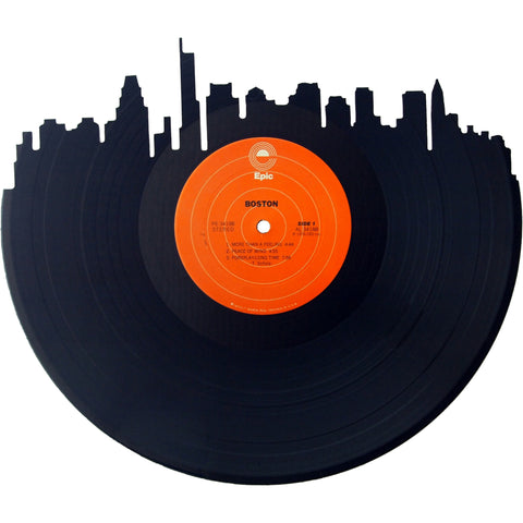 Boston Skyline Silhouette Vinyl Record Art