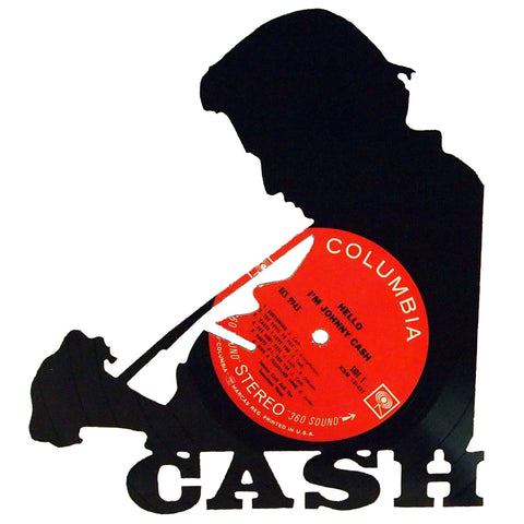 Johnny Cash Silhouette Vinyl Record Art