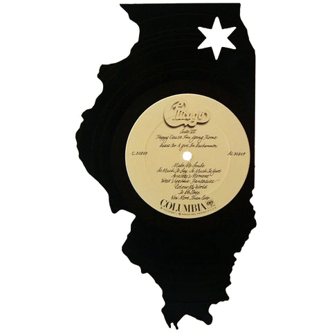 Illinois Silhouette Vinyl Record Art