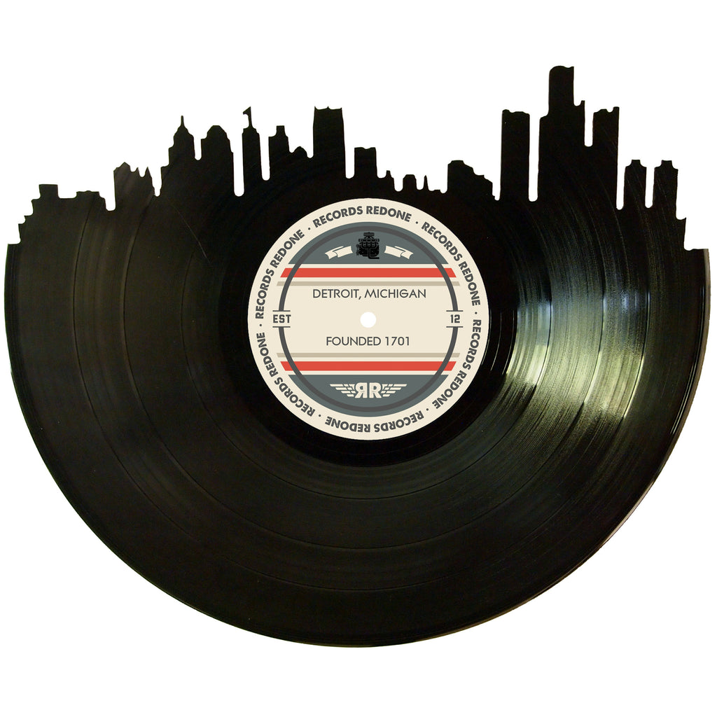Detroit Skyline Records Redone Label Vinyl Record Art