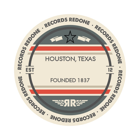 Houston Skyline Records Redone Label Vinyl Record Art