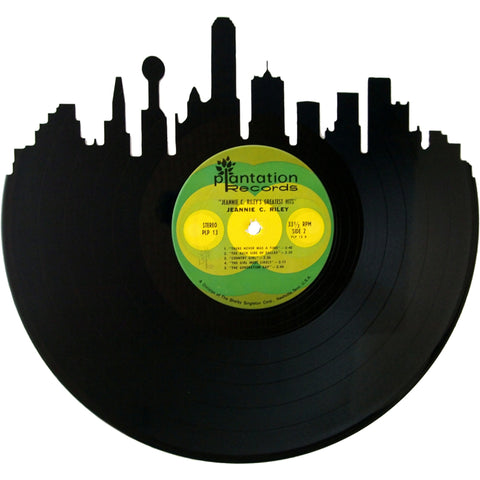 Dallas Skyline Silhouette Vinyl Record Art