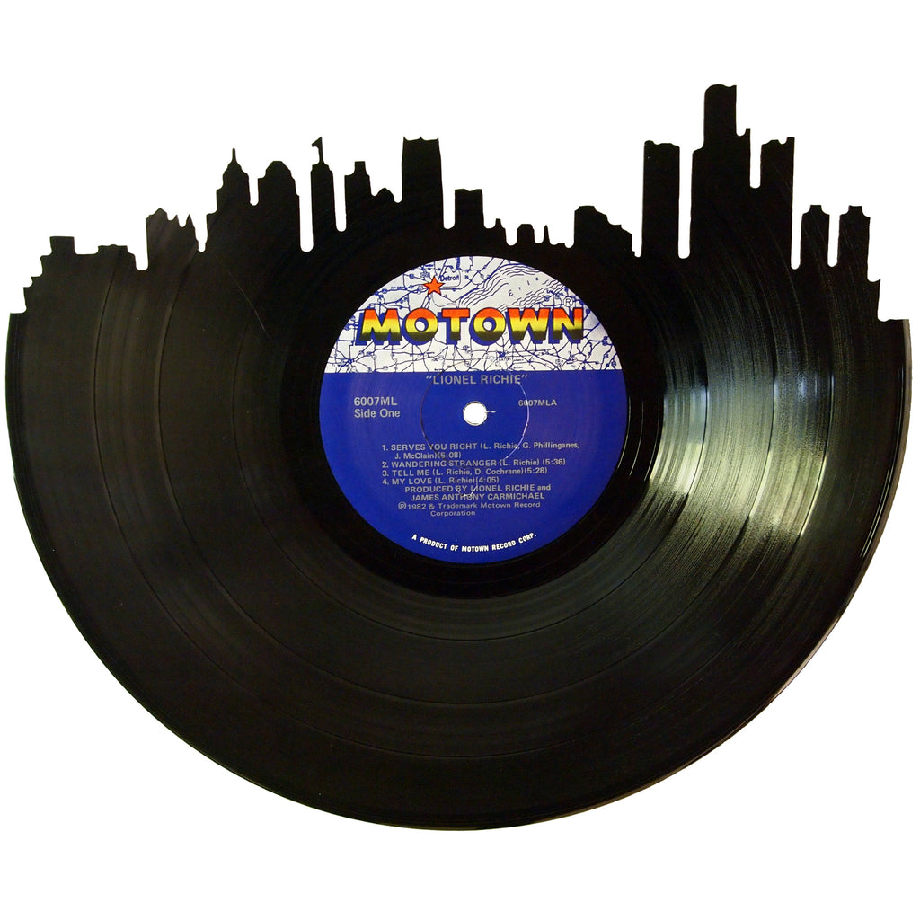 Detroit Skyline Vinyl Record Art