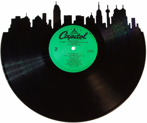San Antonio Skyline Label Vinyl Record Art