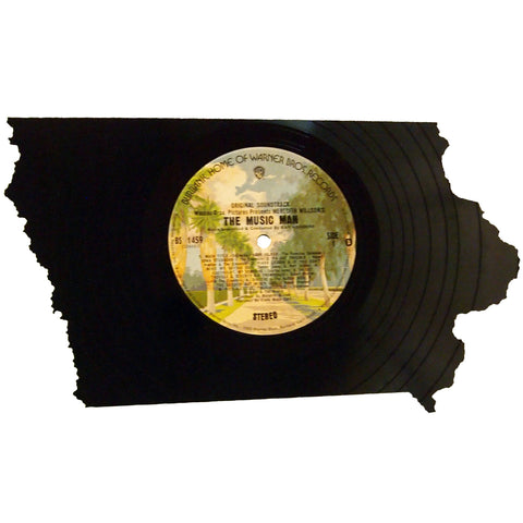 Iowa Silhouette Vinyl Record Art