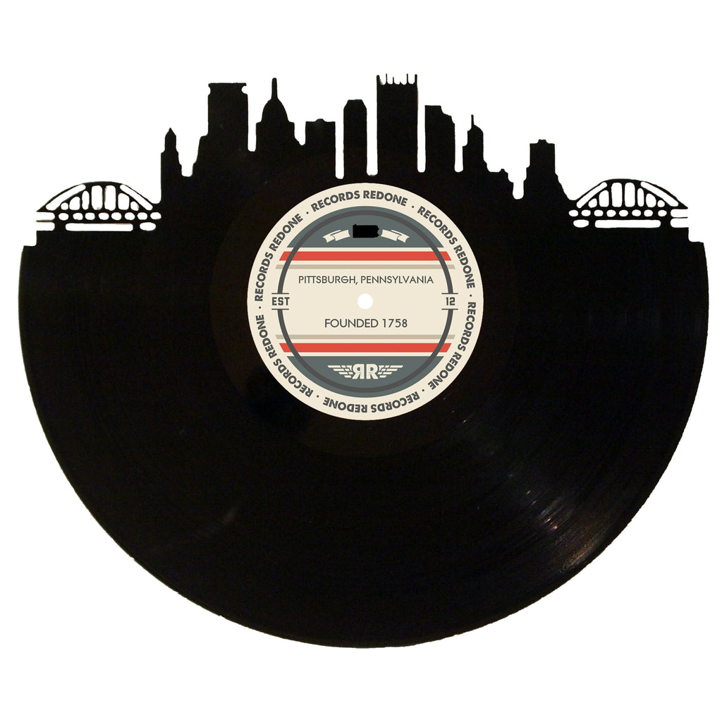 Pittsburgh Skyline Records Redone Label Vinyl Record Art